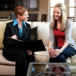 Agent with Woman on Couch
