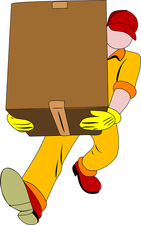 professional mover in uniform carrying a box